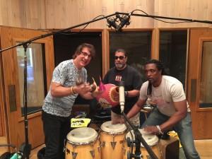 Me, Lenny Castro, Bernard Fowler in the studio for Bernard's CD. 2016