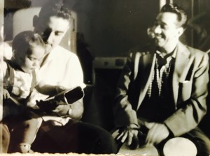 In Cuba, first Bongo and Cowbell lesson. I was one year old. My father Walfredo Sr. holding me.