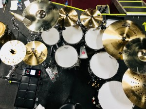 DW Drum set on tour with Chicago 2018 Tour. Sabian Cymbals, Remo drumheads, Roland Octapad, Regal Tip Sticks, Latin Percussion