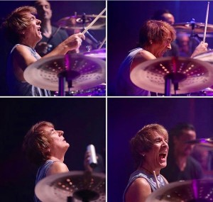 The faces of Wally. Drumming for Chicago at The Venetian, Las Vegas, NV