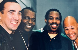At 1995 Modern Drummer Festival with l to r, myself, Elvin Jones, Michael Johnson, Narada Michael Walden